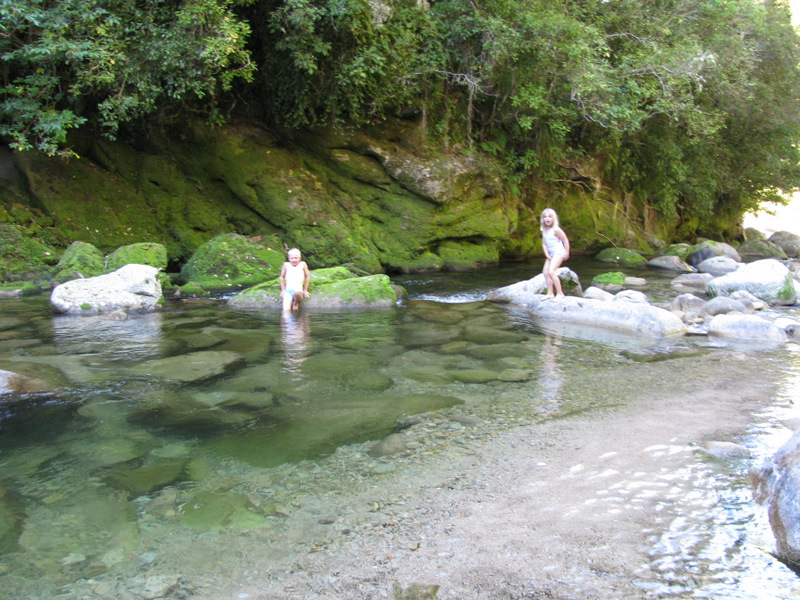 Taking  a swim in a safer swimming hole!!