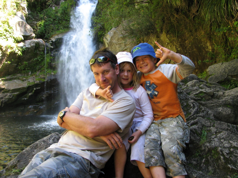 Under the falls - well as close as we would let them!!